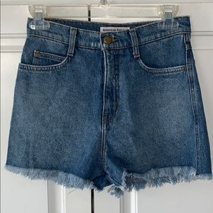 American Apparel cut off high-waisted jean shorts